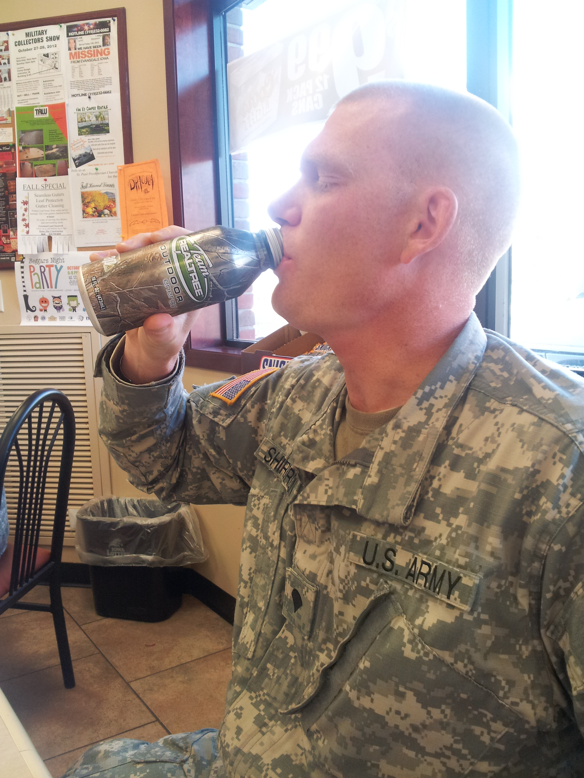 Spc. Shirbroun drinking his Realtree Energy Drink to keep him going during drill.
