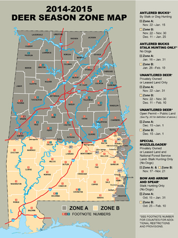 Alabama's proposed northern and southern zones for deer hunting. (Map: Alabama DCNR)