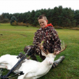 Gavin Dingman of Michigan with his albino buck.