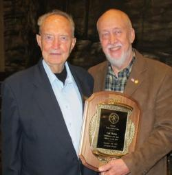 Hall of Fame inductee Gail Martin (left), patriarch of Martin Archery, with Archery Hall of Fame president, M.R. James. (Photo: The Archery Wire)