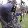 BOWHUNTING  Dan Schmidt aiming at a broadside target