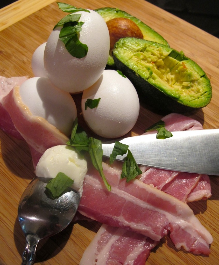 Bacon Avocado Deviled Eggs pair nicely with delicious venison burgers!