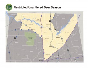 Proposed restricted unantlered deer zone in north Alabama.