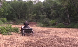 An ATV and soil plowing-seeding-packing tool like the Firminator can help create super plots.