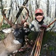 Bear pro staffer Brian Otto with his 11-point double drop buck, which was killed with his Bear 59 Kodiak.