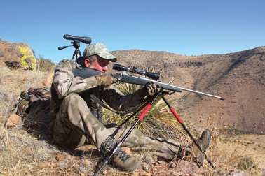 To take advantage of the long range capabilities of this cartridge you need a super-solid rest, like that provided with these BogPod tripod shooting sticks.