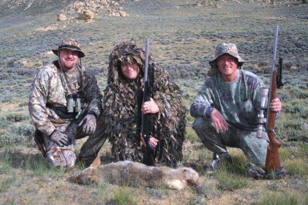 Cory Lundberg (left) along with Aaron Carter of the NRA and Mike Nischalke of Texas with a Wyoming 'yote Carter put on the ground. Hunting with multiple people can be a plus since you'll have extra eyeballs scanning the terrain. (Photo: Alan Clemons)