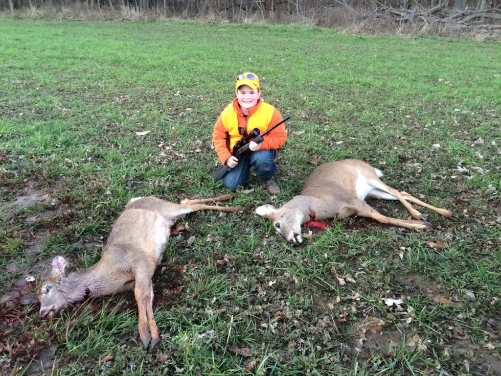 Cash Koch, 7, had an unusual but memorable hunt when he killed two deer with one shot.