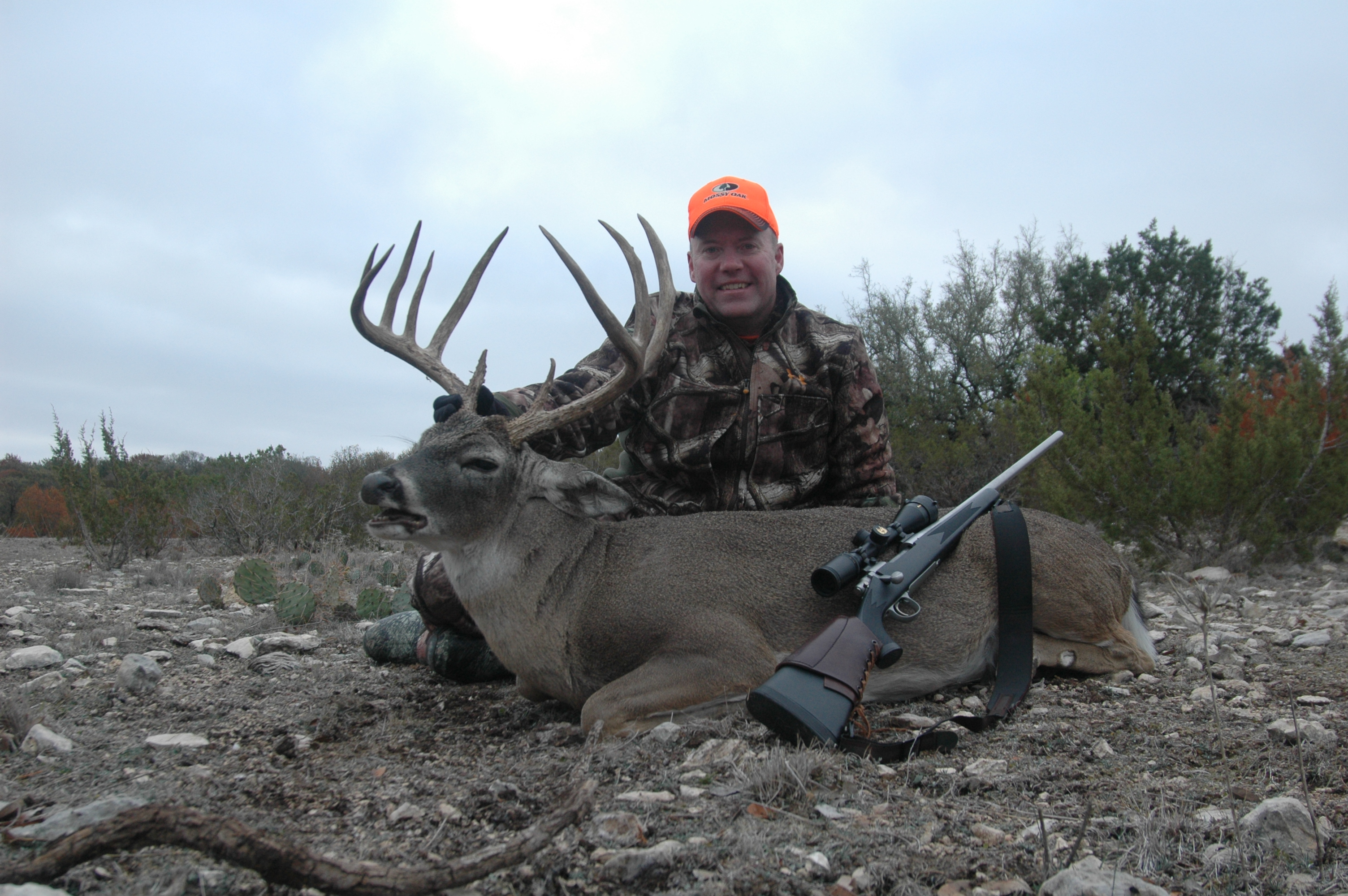 D&DH Editor Dan Schmidt is all smiles after taking this 6-1/2-year-old 10-pointer at the free-ranging Vatoville Outdoors ranch near Sonora, Texas.