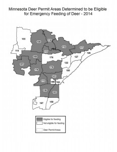 A map released by Minnesota DNR shows counties where supplemental feeding will take place.