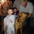Eli Alcock 3 with Honey hound and owner Douglas Downs