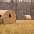 Ground blinds can be something you build from natural vegetation or one more obvious like this Redneck Blinds Haybale.