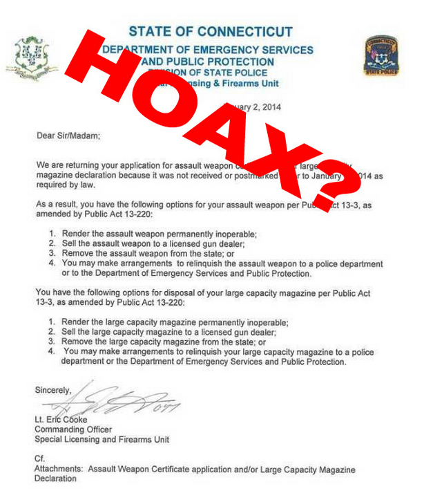 Is Someone Lying About This Gun Confiscation Letter?