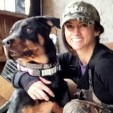 Deer hunter Nicole McClain hunts with her favorite canine Mogador