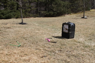My daughter used one of our old block targets to practice her archery skills.