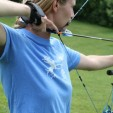 Practicing archery on a sunny summer day.