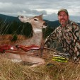 "Patrick Meitin with a doe he hunted and shot in Idaho with his traditional archery gear, which he enjoys and regularly hunts with.  Meitin also hunts with compound bows and ""skinny"" arrows, which he believes have great advantages."