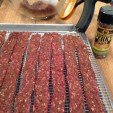 Ground venison strips ready for the oven. (photo by Dan Schmidt)