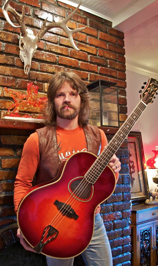 Jimmy Herman with Weber Patriot 1 of 1 acoustic guitar by Weber Fine Acoustic Instruments.