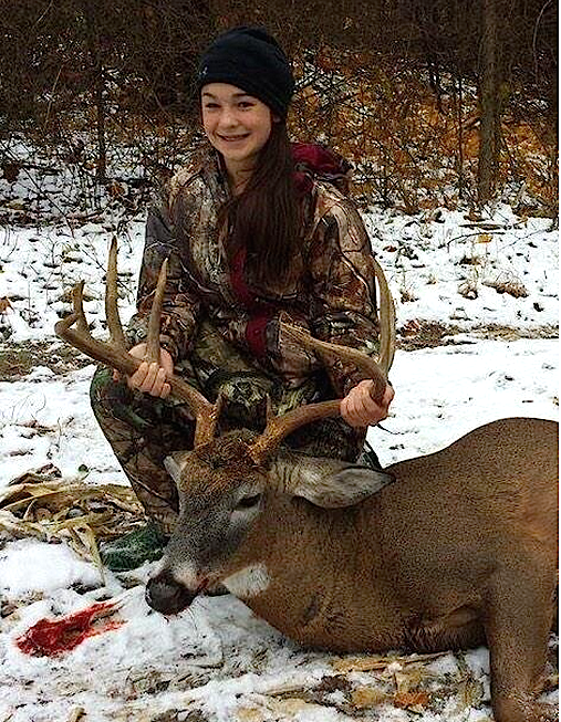 Kaiden Gauther with her fantastic Vermont monster whitetail. What a great buck!