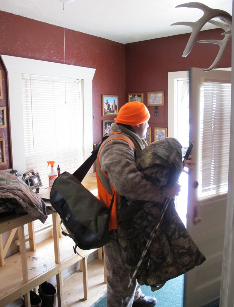 Aaron Carter with the NRA is geared up, after about 15 minutes or more of prep, for his afternoon in a ground blind in Kansas. Harsh conditions call for careful planning and good apparel to ward off bone-chilling temperatures.