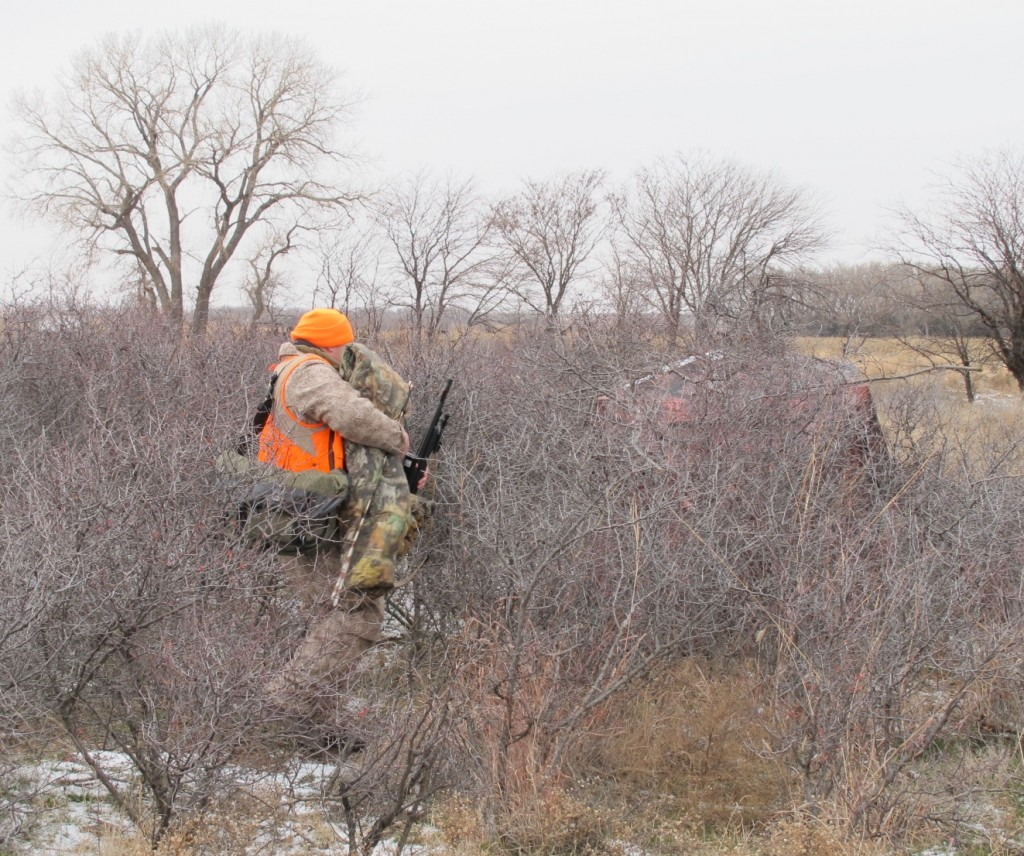 Aaron Carter with the NRA is bundled up for an afternoon hunt in a Kansas ground blind with temperatures in the teens and biting wind out of the north.