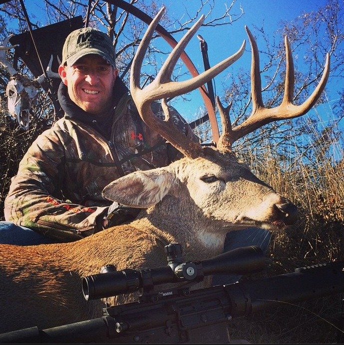 Kevin Jarnagin of Oklahoma with a super buck killed with his Smith & Wesson M&P Rifle on the Chain Ranch in Oklahoma, Spotlight and game camera surveys help land managers large and small compile information about deer so they can make better management decisions.