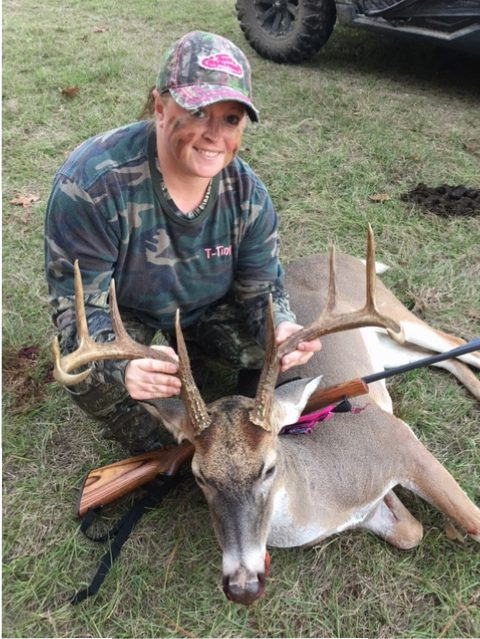 Kristen Klovenski with her buck, Big Boy, which she'd been watching via game cameras before getting a shot at him in November 2016 in Grimes County, Texas.