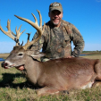 Mark Davis of South Carolina hosts the Big Water Adventures fishing TV show but in deer season he's chasing bucks like this one down in Texas. Salute!