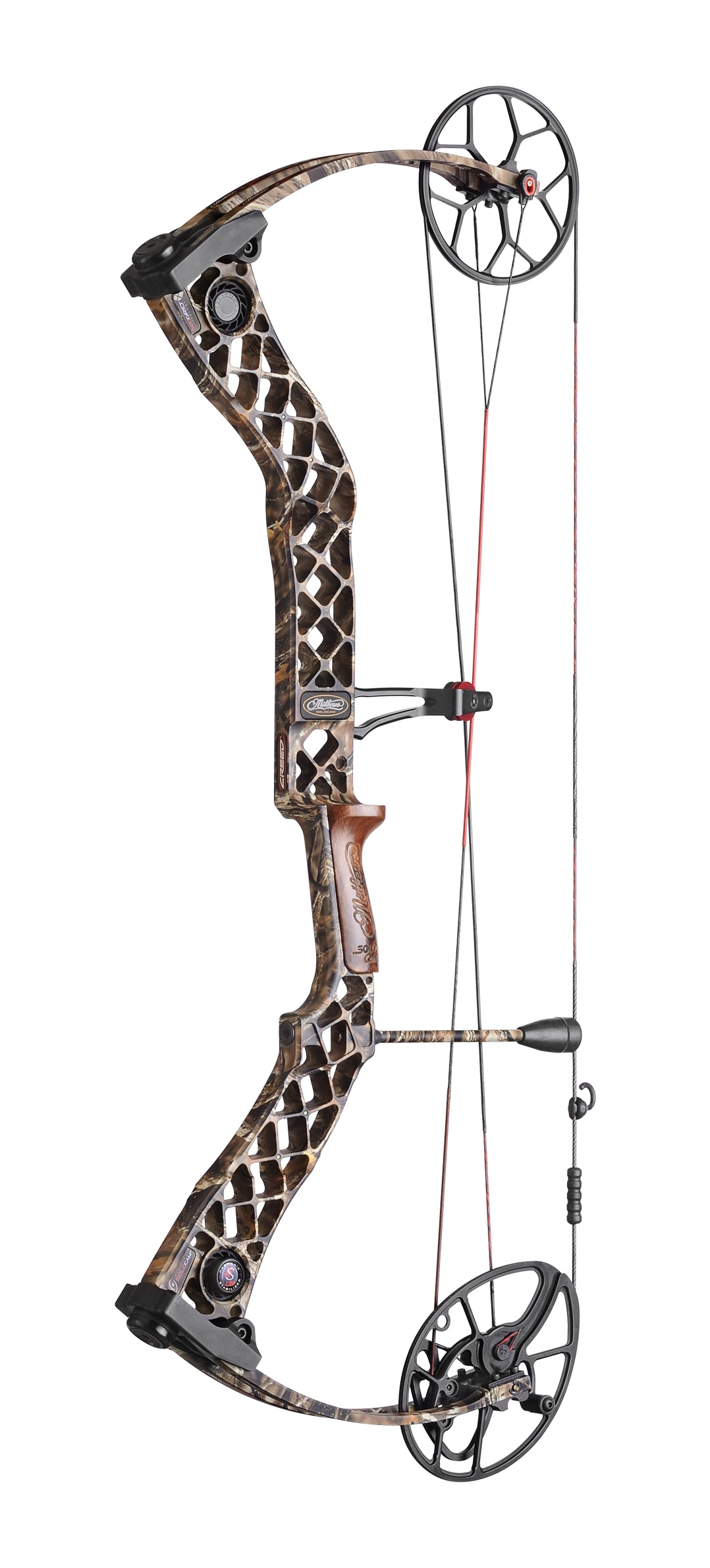 Mathews Creed, in camouflage, sports a 30-inch axle-to-axle height and 7-inch brace height for speed and accuracy.