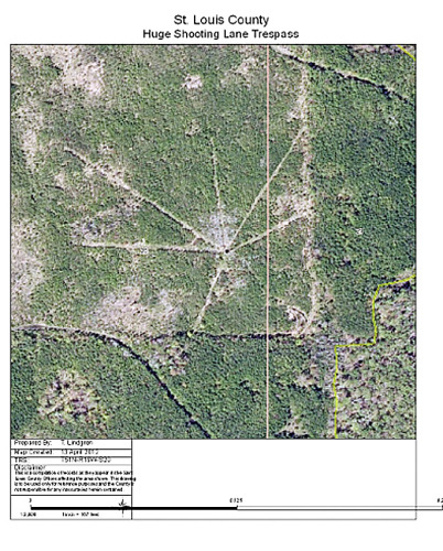 An aerial photo shows timber cut in a spoke fashion from a stand on public land. (Photo: St. Louis County Department of Lands and Mines)