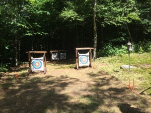 Some of the archery targets ready for use.