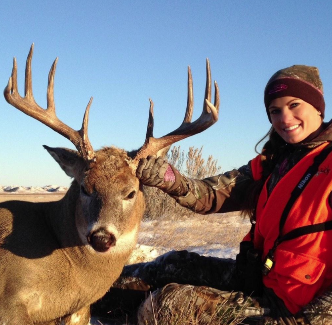 Nichole Boxler of New York traveled to Montana for this hunt and fine buck. Salute!