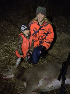 Sasha Nugent and son Caeden with Sasha's first Michigan Deer