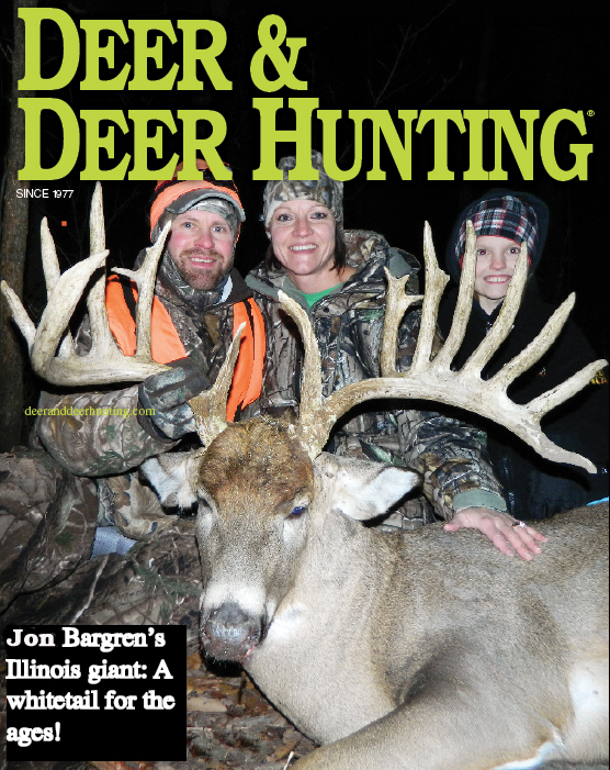 Jon, Holly and Hunter Bargren rejoice in the hunt of a lifetime after John made a clutch shot on this 200+ inch whitetail in 2013.