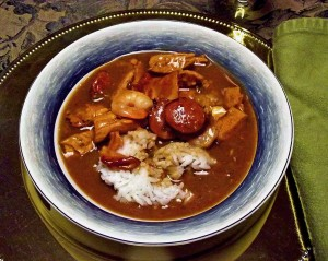 Seafood gumbo can include venison sausage, of course, for added flavor!