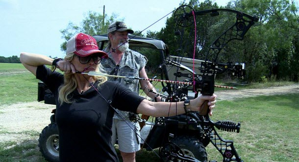 "Shemane Nugent shooting her Mathews ... and as Ted sez, ""Happy wife, happy life!"""