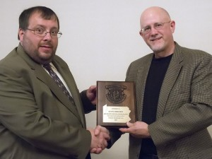 "Steve Sorensen (right) receiving the award for ""Best Magazine Feature"" from Richard Faler, outgoing President of the Pennsylvania Outdoor Writers Association."