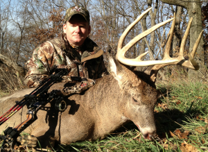 Stephen Burchett of West Virginia with his monster bow buck.