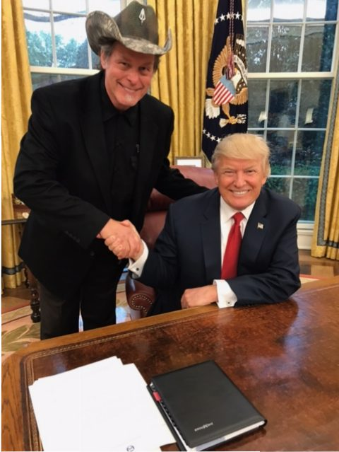Ted Nugent with President Donald Trump in Oval Office.