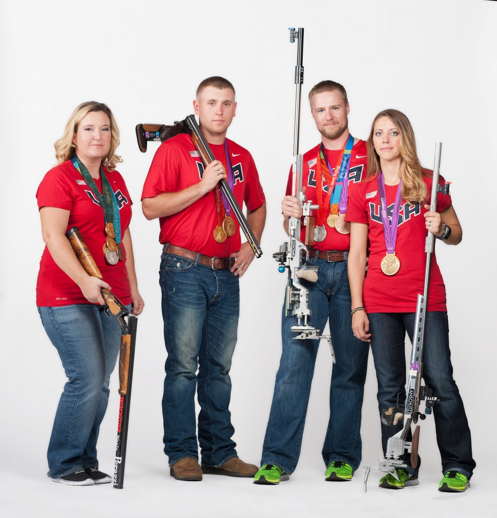 Kim Rhode of El Monte, Calif., Vincent Hancock of Eatonton, Ga., Matt Emmons of Browns Mills, N.J., and Jamie Gray of Lebanon, Pa., have a combined 11 Olympic medals.