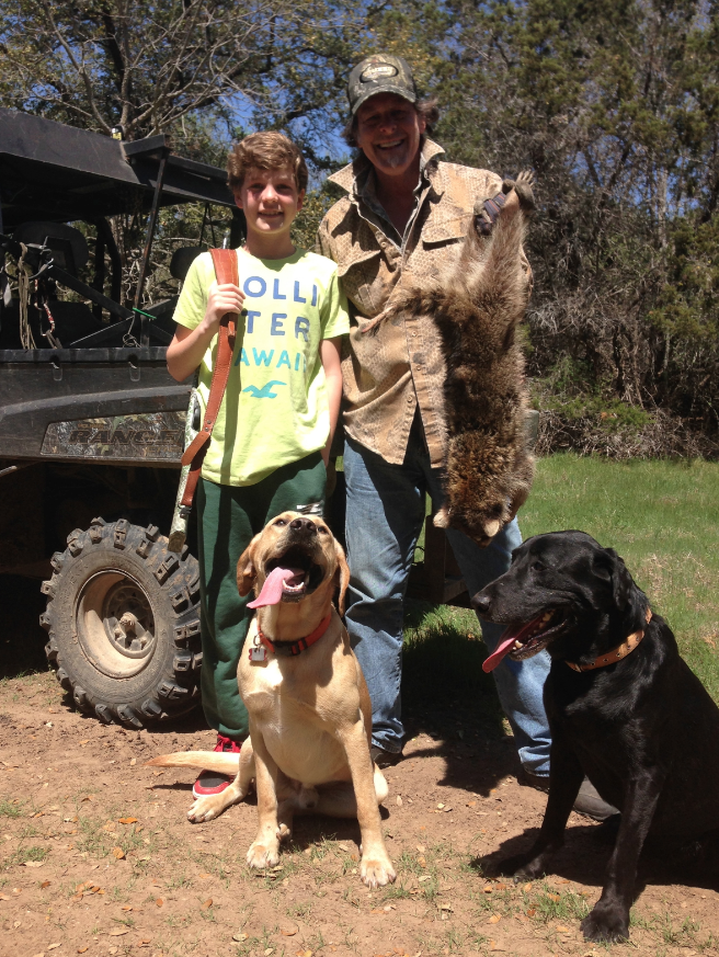 Ted with grandson Jack and super dogs Gonzo and Happy on the spring trap line