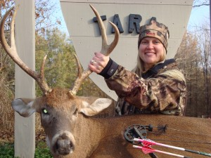 Tonya Ballard arrowed this outstanding 225-pound 6-point at Tara Wildlife during the 2011-12 season.