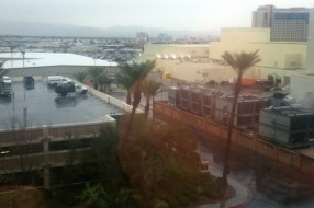 The views aren't always scenic in the trade show season and occasionally we get to see something unusual, like this rain in Las Vegas!