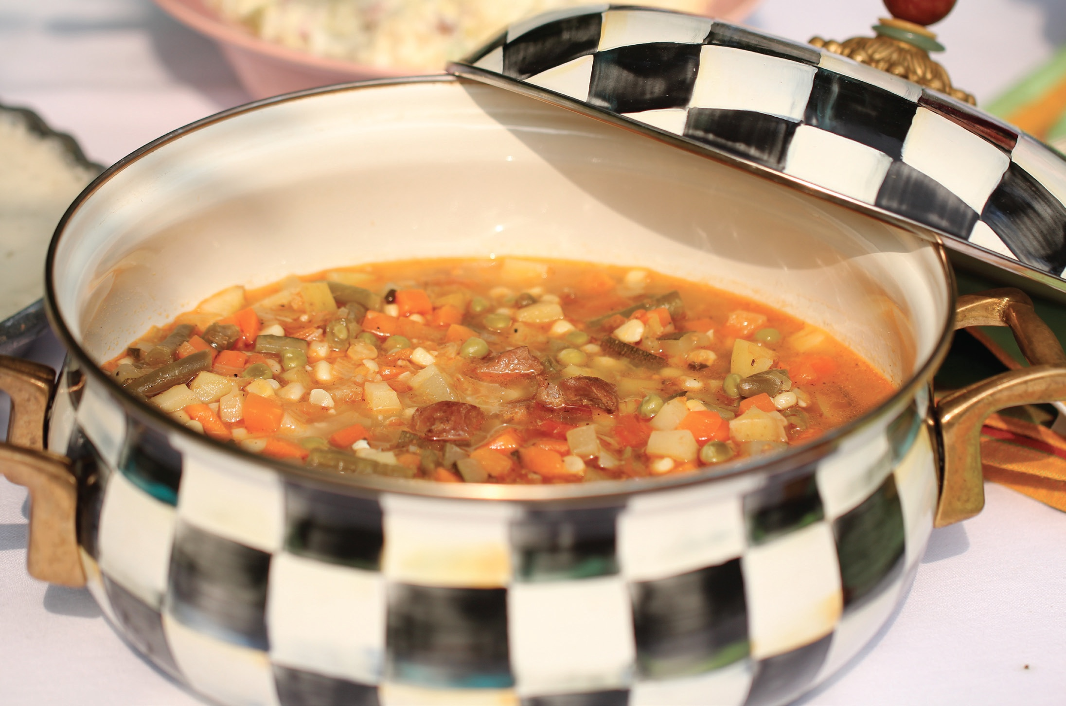 Ground venison adds great flavor and depth to vegetable soup, which is good anytime of the year.