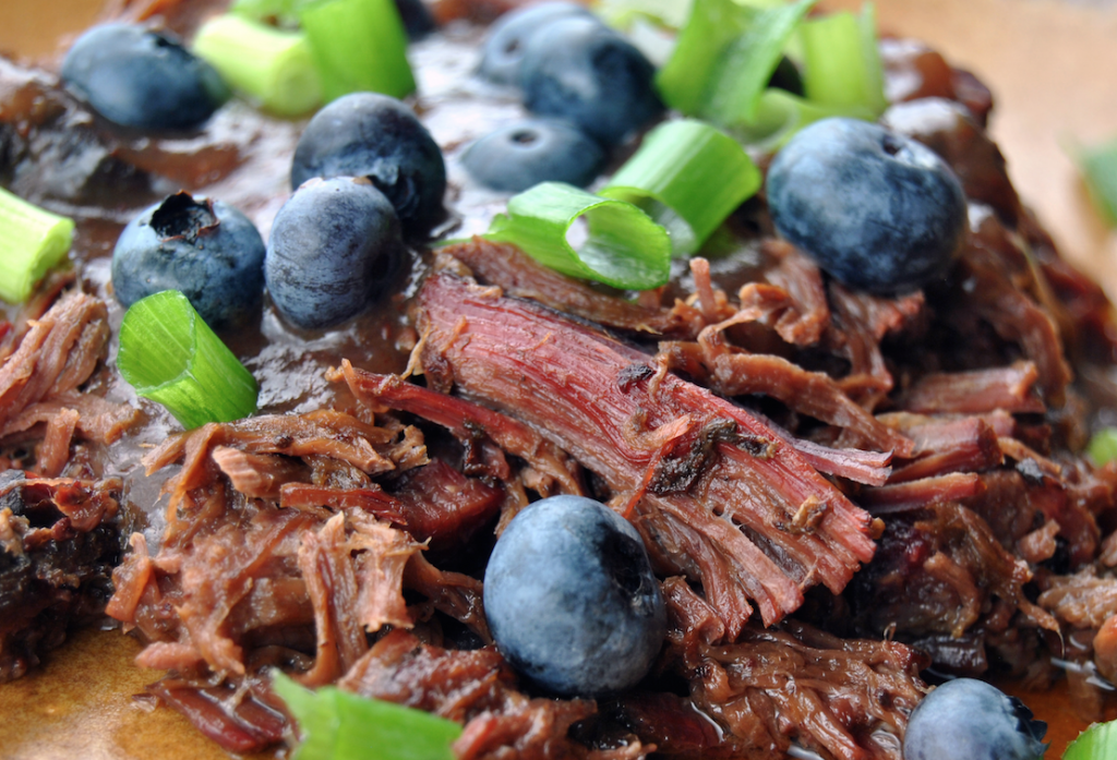 Mmmm ... slow-cooked venison with blueberry sauce!