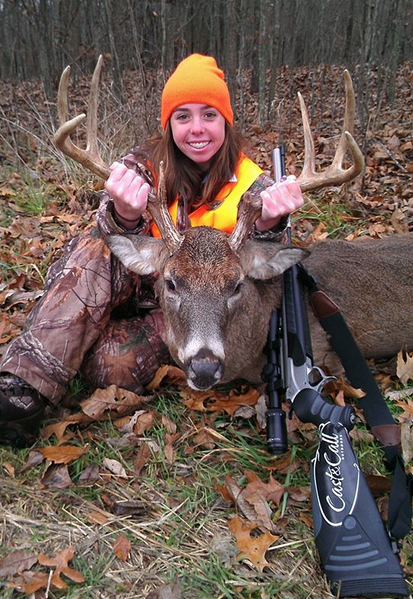 Whitney Woodrick of Florida with her first muzzleloader buck, with a CVA Accura, during an Illinois hunt. Congrats!