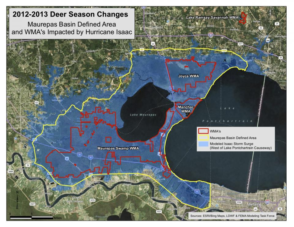Changes for Maurepas WMA are outlined as part of the Louisiana Department of Wildlife and Fisheries' recommendations for deer season updates due to Hurricane Isaac. (Map: LDWF)