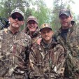 From left: Fleetwood, Ted, Rocco and Toby Nugent share a great moment at deer camp. (photo courtesy of Ted Nugent)