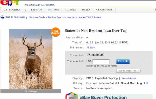 eBay Auction for Iowa Deer Tag